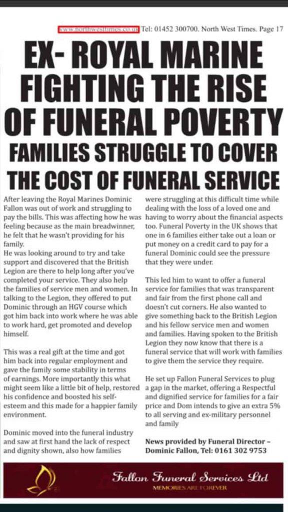 NewsPaper Article - Fallon Funerals